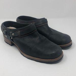 UGG navy wood heeled clogs slip ons